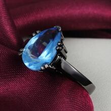 18K SVART guld Filled gulddoublé Ring BLÅ Cubic Zirconia Vattendroppe