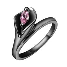18K SVART guld Filled gulddoublé Ring Rosa Cubic Zirconia Blomma