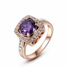 18K ROSE Guld Filled gulddoublé Ring österrikiska kristall