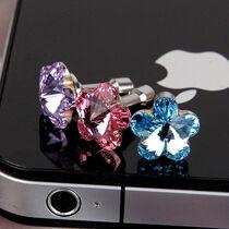 Anti dammskyddad pluggar till iPhone 5 4s blomma strass stendamm plugg 3,5 mm