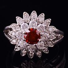 14K VIT Guld Filled gulddoublé Ring Granat