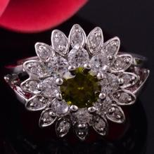 14K VIT Guld Filled gulddoublé Ring olivine