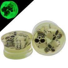 Glöd i mörker 3D skalle Pluggar Piercing 10-24mm