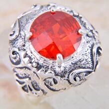 925 silver RING röd kvarts ÄDELSTEN #18