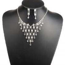 Silver pläterad Set Bröllop Brud kristall, halsband + örhängen