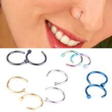 Stud Rostfritt stål titan pläterad cirkulär piercing näsa ring