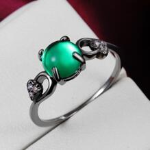 18K SVART guld Filled gulddoublé Ring grön opal