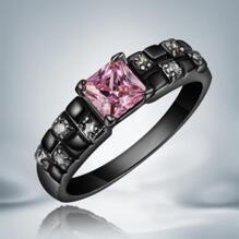 18K SVART guld Filled gulddoublé Ring Rosa Cubic Zirconia