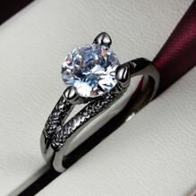 18K SVART guld Filled gulddoublé Ring Cubic Zirconia