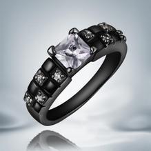 18K SVART guld Filled gulddoublé Ring Cubic Zirconia #18