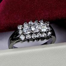 18K SVART guld Filled gulddoublé Ring Cubic Zirconia #17