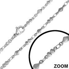 3mm rostfritt stål Fancy Cirkel Diamant Form Link spänne kedja halsband